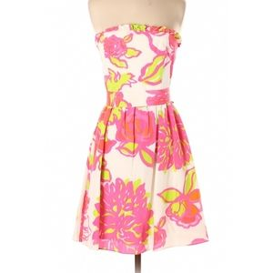 Lilly Pulitzer white strapless dress pink floral